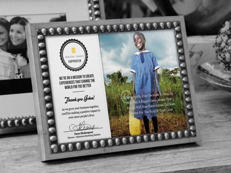 Cartão de apoiador Charity Water