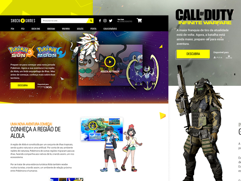 Landing Pages para lançamentos de jogos – Shock Games